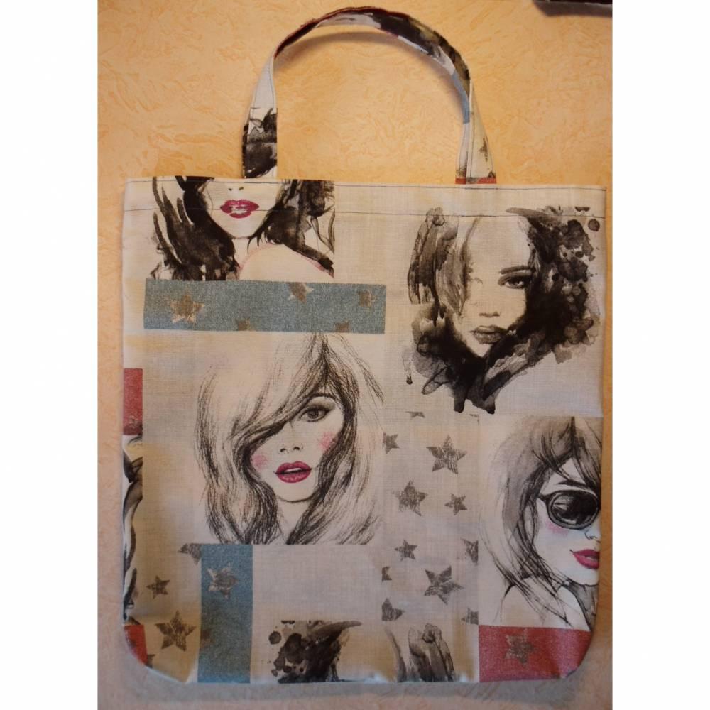 Beutel, Stofftasche, Einkaufstasche, Shopper, Frauen, Sterne, Stoffbeutel, shopping bag, Bild 1