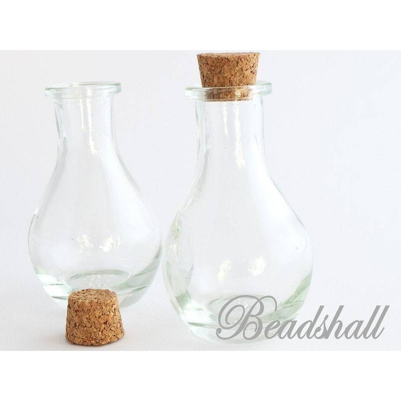 1 Glasflasche Form bauchige Vase mit Korken 12 ml Bild 1