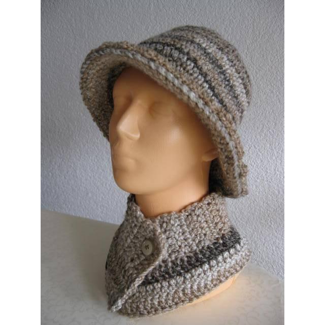 Damen Hut Hüte mit Krempe, Kragenschal & Stirnband - Braun/Beige im Farbverlauf Gr. 52/54 Bild 1