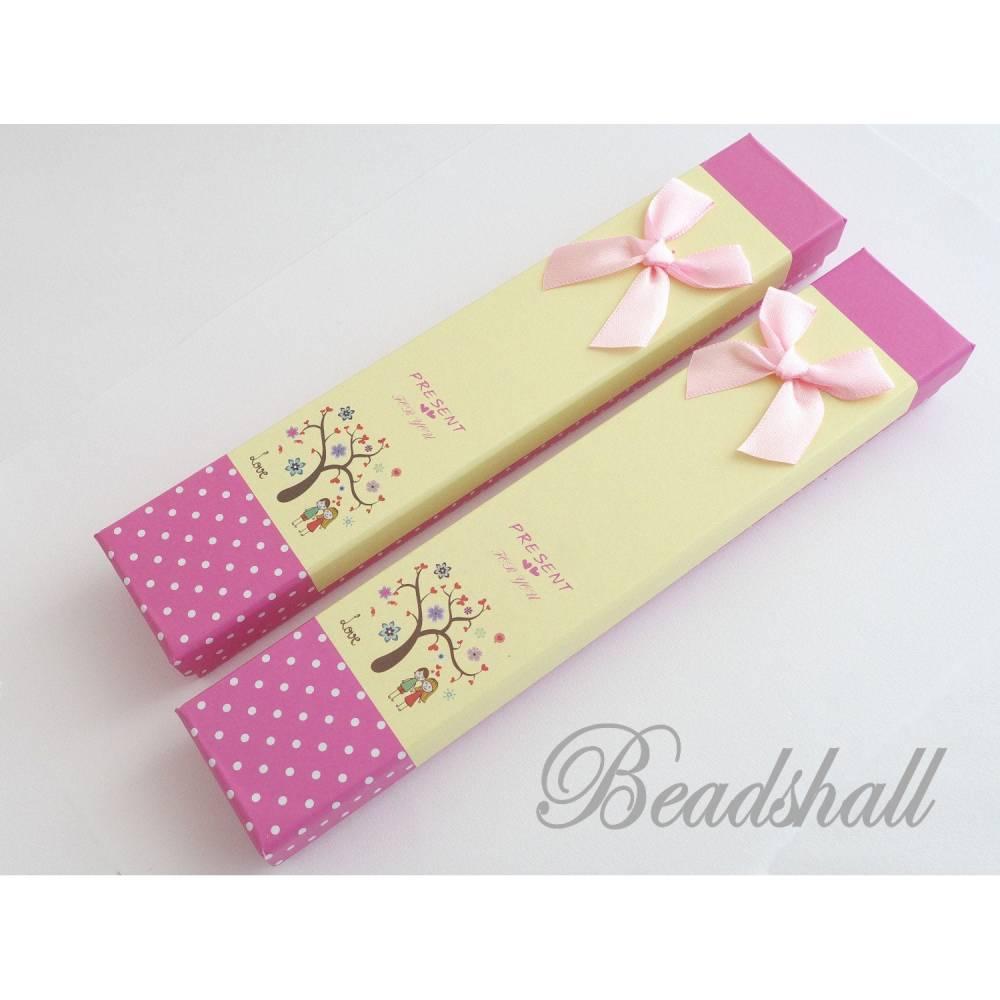 2 Geschenkschachteln, Schachteln, Schmuckverpackung Pink Gelb mit Motiv, Schleife Rosa Bild 1