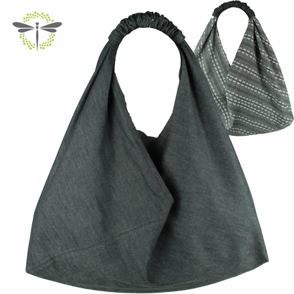 XL Origamitasche I Einkaufstasche I Schultertasche I Beuteltasche I Shopper I japanische Markttasche *grauer Jeans-Stoff* Bild 1