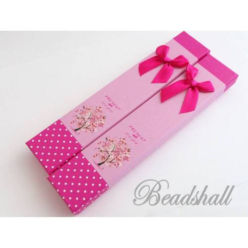 2 Geschenkschachteln, Schachteln, Schmuckverpackung Rosa mit Motiv, Schleife Pink