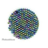 100 Glasperlen - rund 4 mm schwarz mit vakuumbeschichtung metallic Bild 1