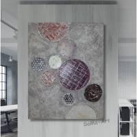 Leinwandbild mit Tief in der Struktur liegenden Kreisen. Naturfarben von Creme bis Terracotta, Wandbilder, Acrylbild, Wandkunst, Strukturbild Bild 1