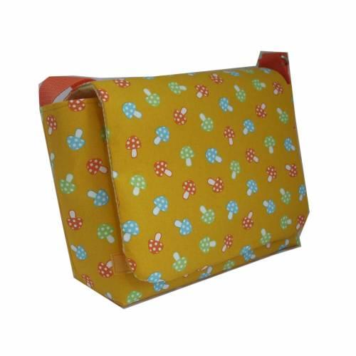 Kindergartentasche Tasche Pilze Pilz gelb orange kariert weiß kariert Karo handmade