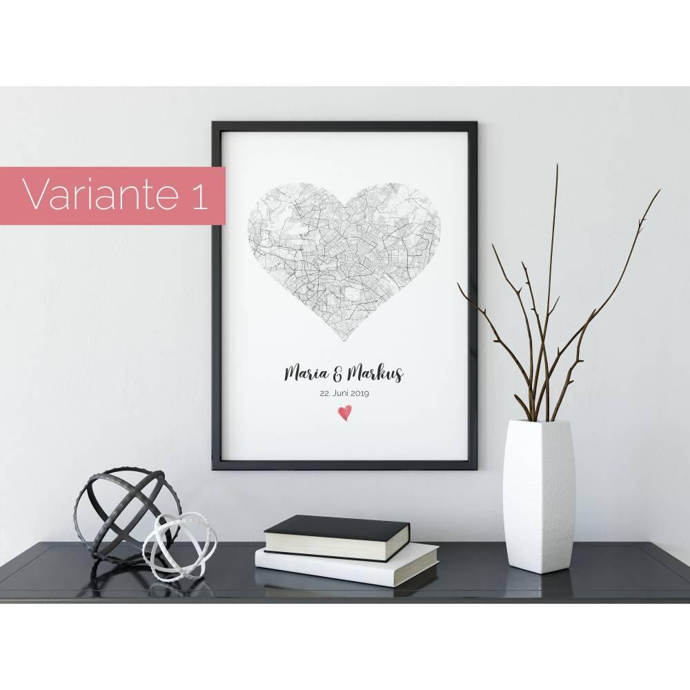 Hochzeitsgeschenk personalisiert | Hochzeit Geschenk | Hochzeitstag | Valentin | individualisiertes Poster auf Wunsch inkl. Rahmen Bild 1