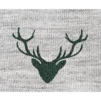 Jersey in hellgrau meliert mit trachtigem Motivdruck in dunkelgrün, 65% Polyester, 30% Baumwolle, 5% Elasthan Bild 1