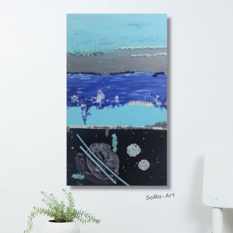 Acrylbild als dekorative Collage auf Leinwand, Meer, Sehnsucht, Wandbild, Wohnraumdekoration, Kunst  Bild 1