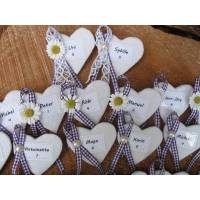 Anstecker-Namensschild-Gästebrosche-Platzkarte-Gastgeschenk-Hochzeit, Herz, Filz, Wunschbeschriftung Bild 1