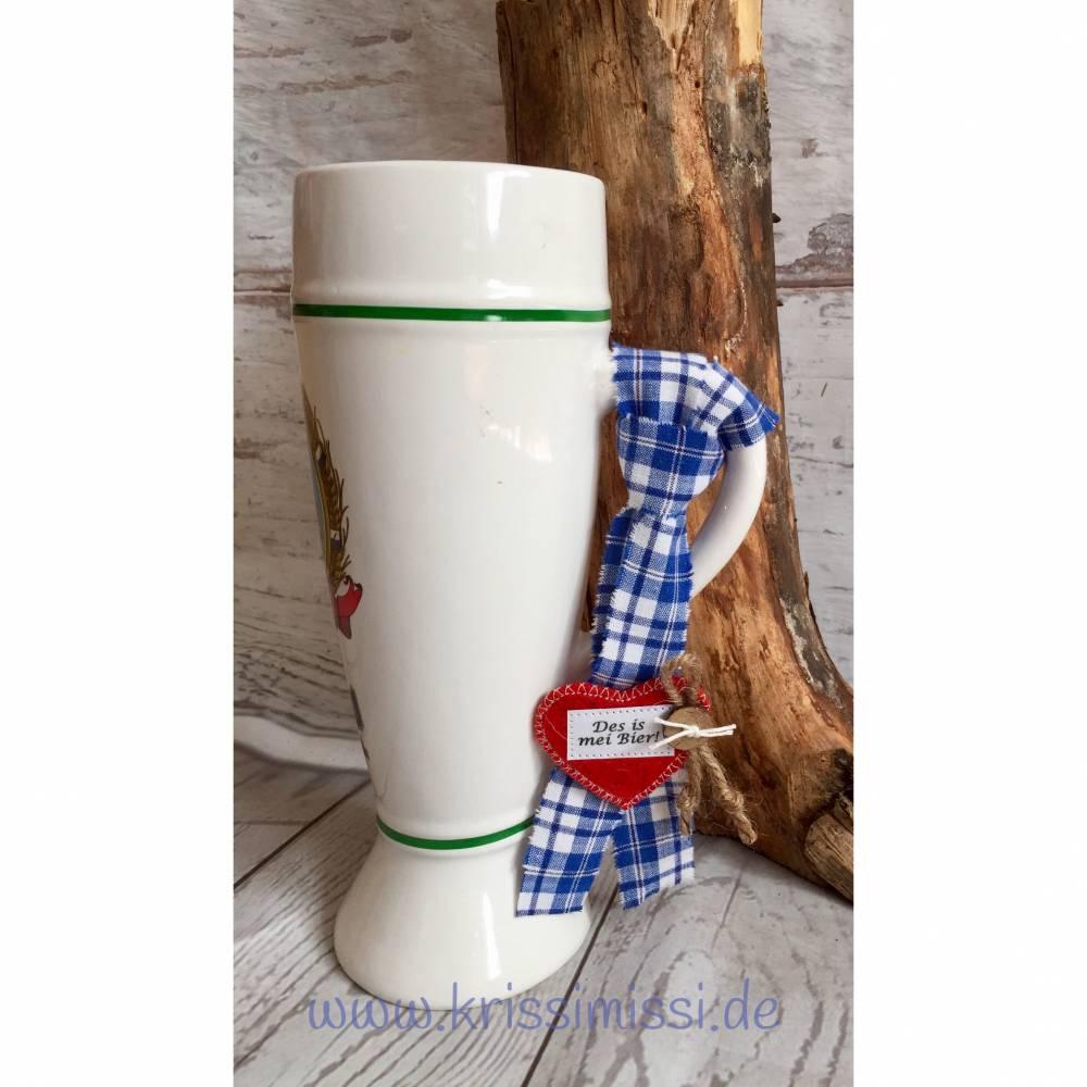 Krugband Markierungsband Krug-Markierung Bierkrug Maßkrug Bauern-Leinen, Filz-Herz personalisiert, Wunschbeschriftung Bild 1
