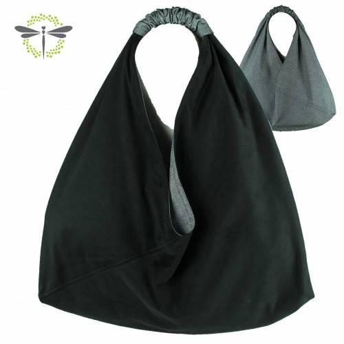 XL Origamitasche I Einkaufstasche I Schultertasche I Beuteltasche I Shopper I japanische Markttasche *schwarzer Samt*