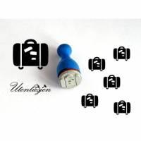 Stempel Koffer, Urlaub, Gepäck, Reise, Ferien, mini, Ø 11 mm, Ministempel Bullet Journal Bild 1