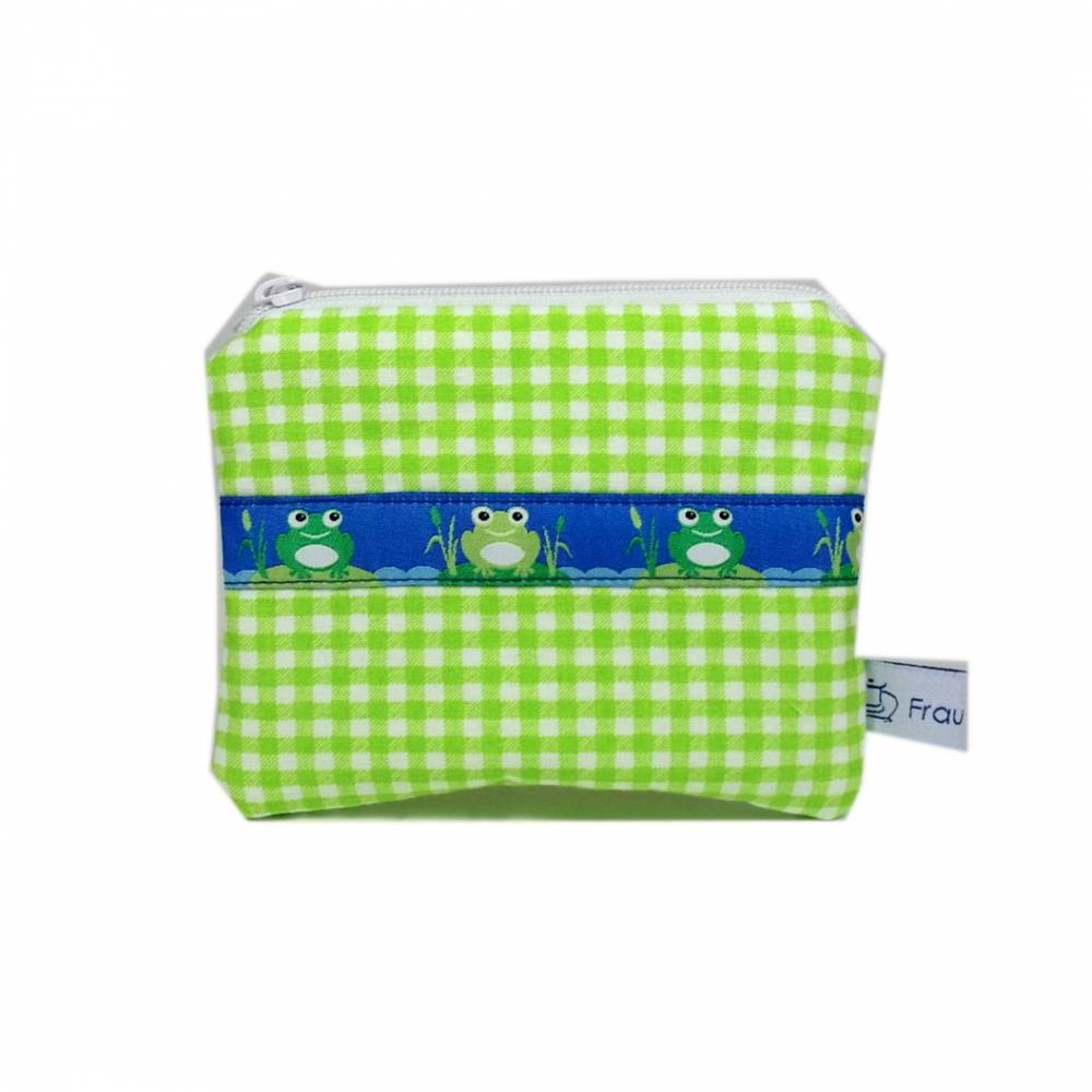 Täschchen Mäppchen Etui Geldbörse Frösche Frosch grün weiß handmade Karo kariert Bild 1