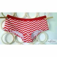 """MoodySous Damen-Hipster Unterhose basic """"Zickzack rot weiß"""" aus Jersey Größen 34-44 Bild 1"""
