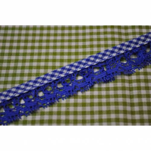 Rüschenband mit vichy Karo borte blau