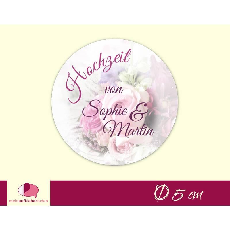 Hochzeitsaufkleber | Blumenstrauß  rosa  Bild 1