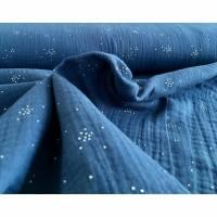 Musselin mit silbernen Pünktchen, blau