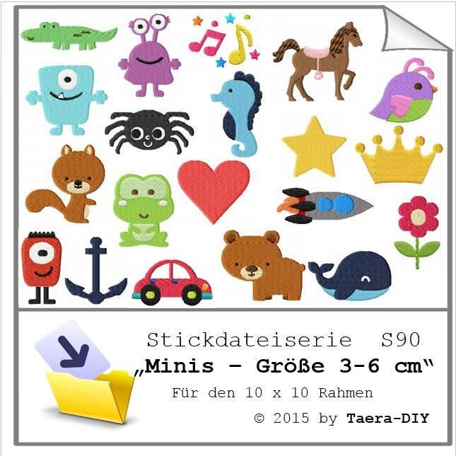 Stickdate Serie Minis für Puschen S90 Kleine Motive Bild 1