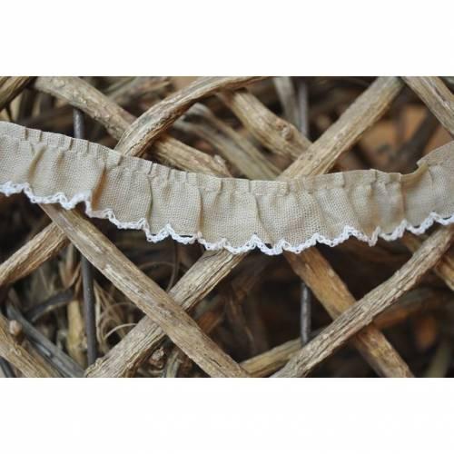 Rüschenband mit Häkelrand beige - weiß