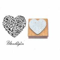 Stempel Herz mit Noten, Notenschlüssel, Bassschlüssel 40 x 35 mm