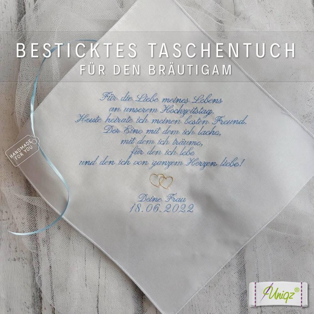 ✂ Freudentränen-Taschentuch - Bräutigam - Stickerei - Geschenk - Hochzeit Bild 1