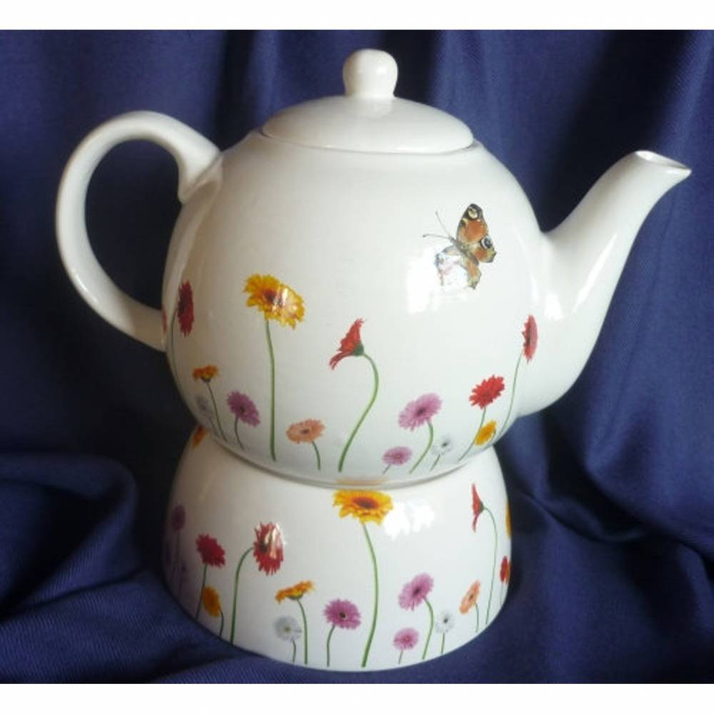 Teekanne mit Stövchen Frühling,Schmetterling,Gerbera,Tee Bild 1