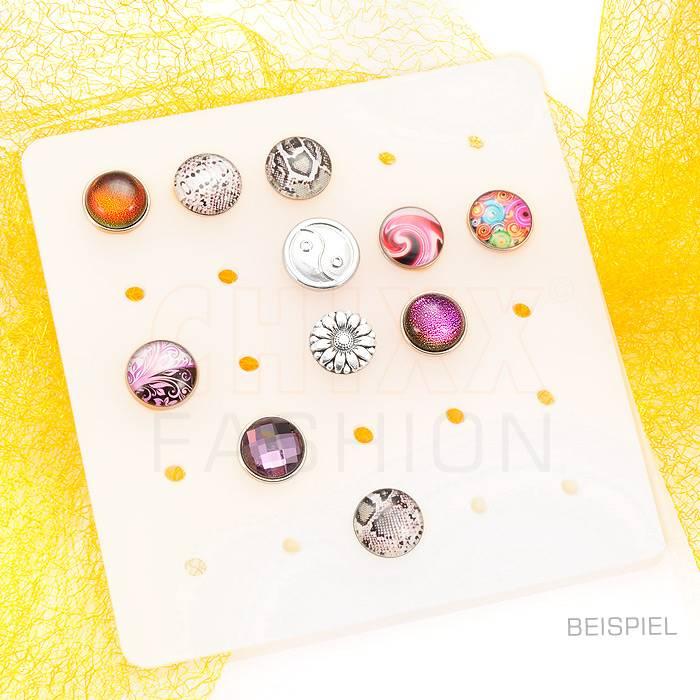 Tablett aus satiniertem Acrylglas, für die Präsentation und Herstellung vom Click-Buttons in Standardgröße M (18mm),  Bild 1