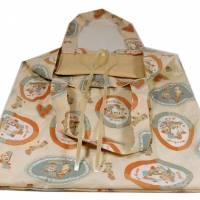 Einkaufstasche Stoffbeutel beige Punkte Kinder handmade Bild 1