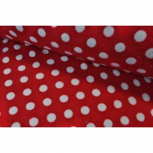 Mikrofleece Punkte rot/weiß
