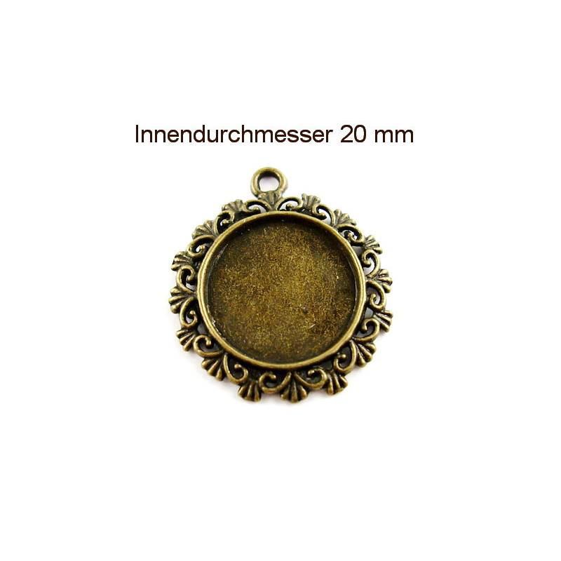 Anhänger Fassung für runde Cabochons bronzefarben Bild 1
