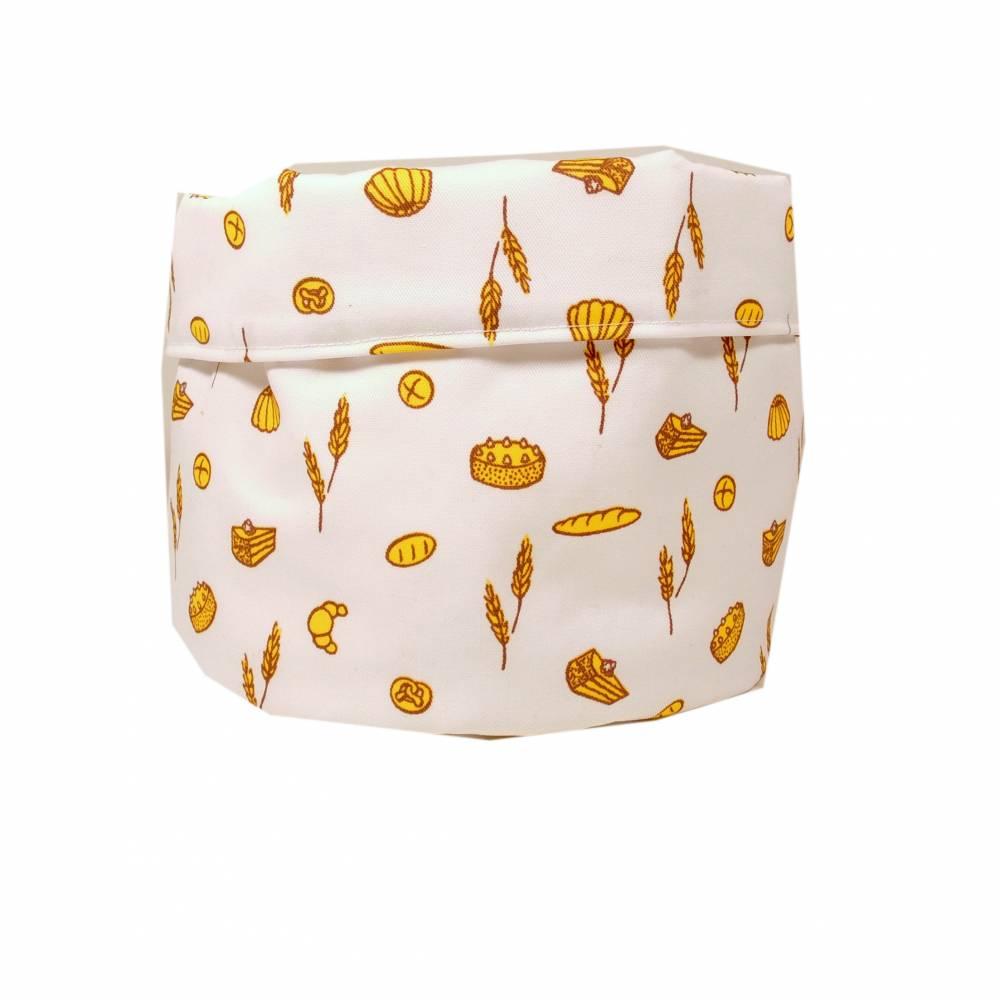 Stoffkörbchen Utensilo weiß  Brot Brötchen Kuchen gelb handmade Bild 1