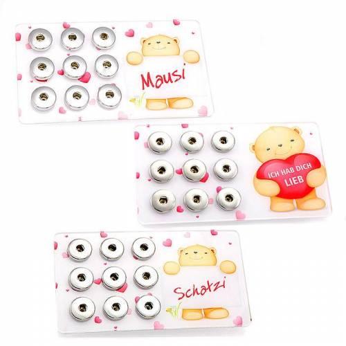 "SNAP-PAD ""Teddy-Motive"" - Display, Aufbewahrung für 9 Snap-Click-Buttons (Wechselschmuck) - Motivauswahl - EINZELSTÜCKE!"