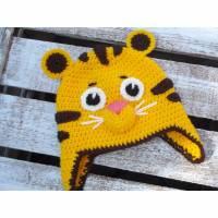 """Coole, gehäkelte Babymütze """"Kleiner Tiger"""" KU 40-42cm Bild 1"""