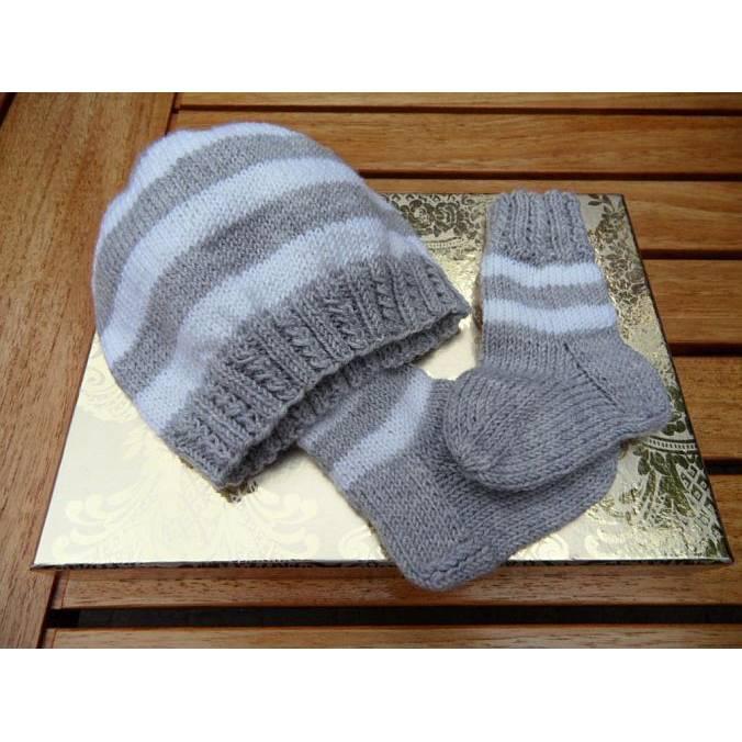 Neugeborenenset, Baby-Mütze und Baby-Socken grau weiß, Merino Bild 1