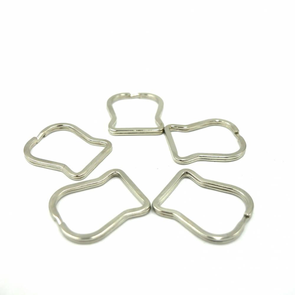 Schlüsselring, 5 Stück , Metall, mit gerader Basis, eckig Bild 1