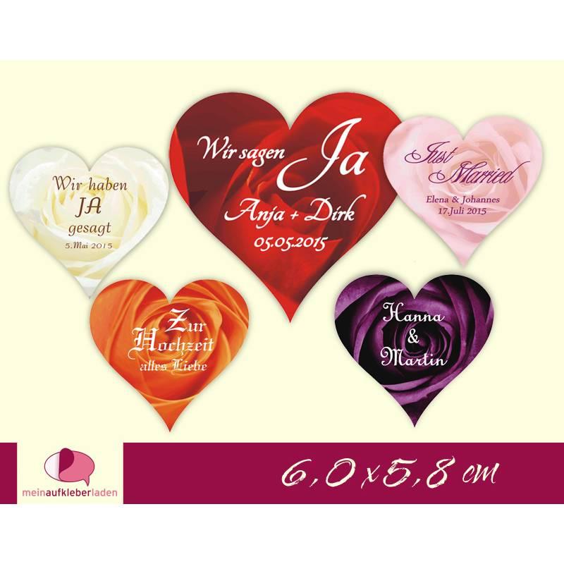30 herzförmige Hochzeitsaufkleber | romantische Rosen - Herz Bild 1