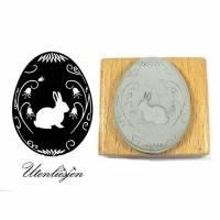 Stempel Osterei mit Hasen, filigrane Blumen, 40 mm Ostern Osterstempel Stempel Bullet Journal Bild 1