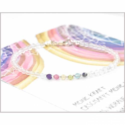 Edelstein Armband Pastell Mix 3 mm Bergkristall und mehr