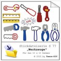 Stickdatei serie Werkzeuge S77 Hammer Schraubenzieher Lineal Zange Säge Bild 1