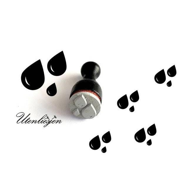 3 Tropfen Mini Stempel Wasser Wassertropfen Regentropfen Ministempel Bullet Journal Bild 1