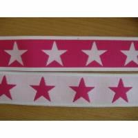 1 m Gummiband Taillenband Elastic Sterne Doubleface  rosa/pink 40mm Oeko-Tex® Standard 100 (1m/2,50 €) Bild 1