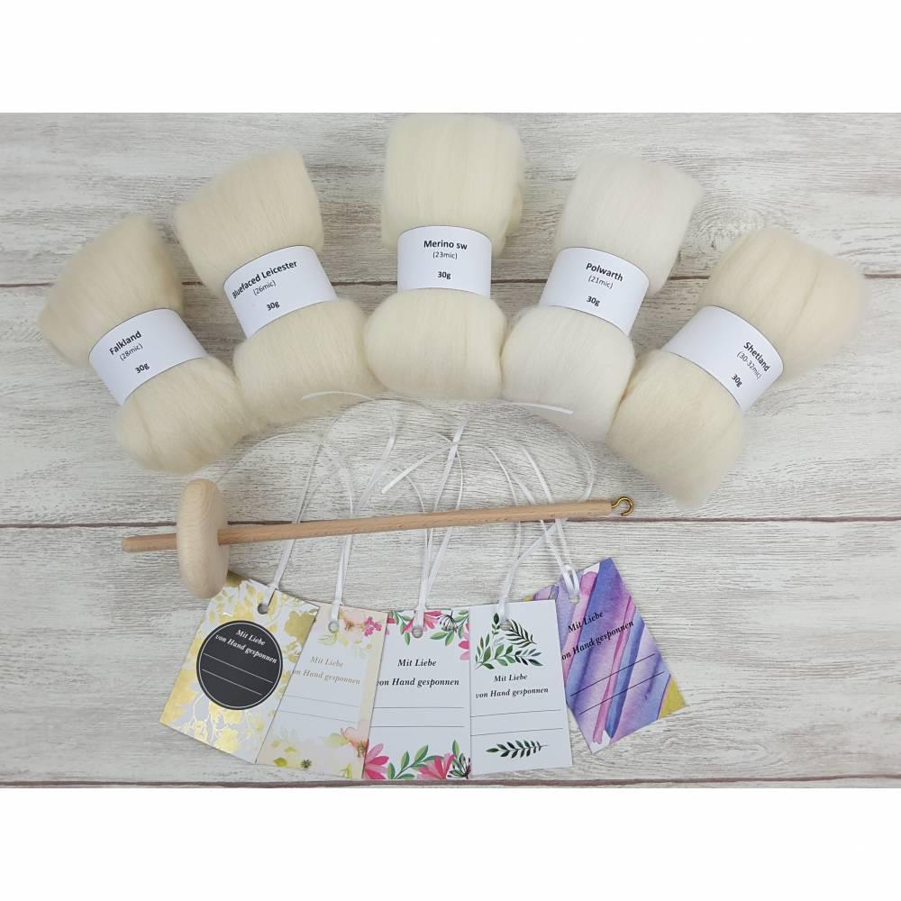 Handspindel-Set mit naturweißer Wolle, Anfänger-Set zum Spinnen, Anfängerspindel mit Wolle, Mini-Kammzüge mit Handspindel Bild 1