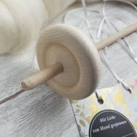 Handspindel-Set mit naturweißer Wolle, Anfänger-Set zum Spinnen, Anfängerspindel mit Wolle, Mini-Kammzüge mit Handspindel Bild 4