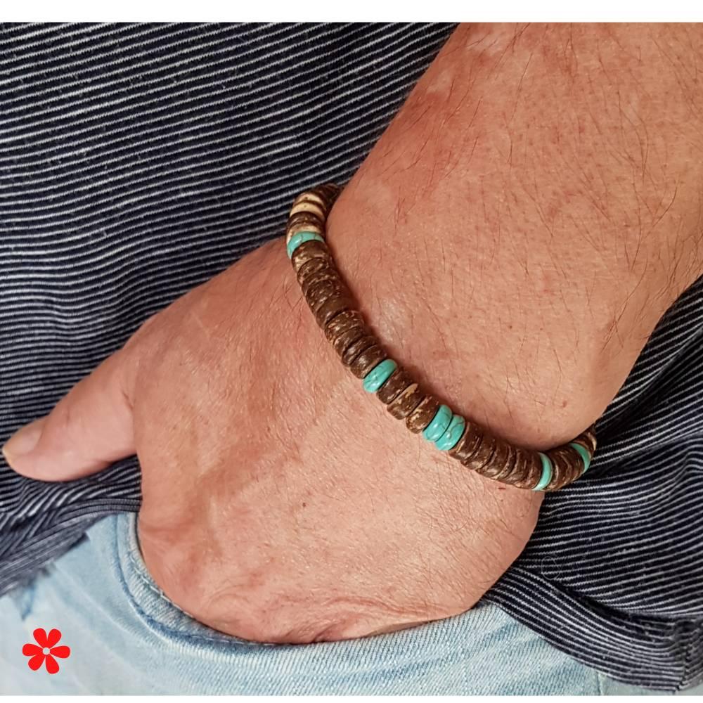 Surfer Armband für Herren & Damen, Kokosnuss Holzperlen & Edelsteinen, Männer Surferarmband elastisch, Braun Türkis Bild 1