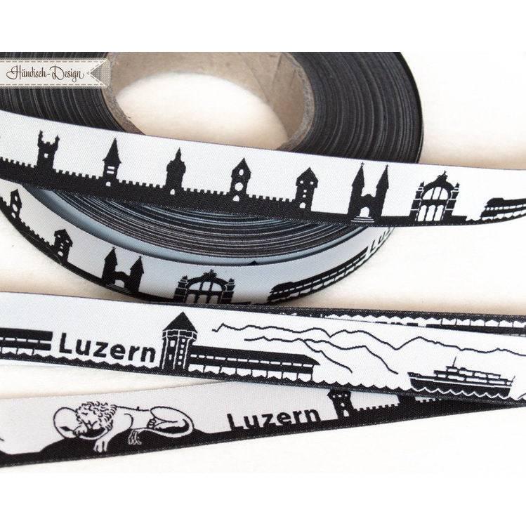 1m (2EUR/m) Luzern (Schweiz) Skyline Webband schwarz/weiß Bild 1