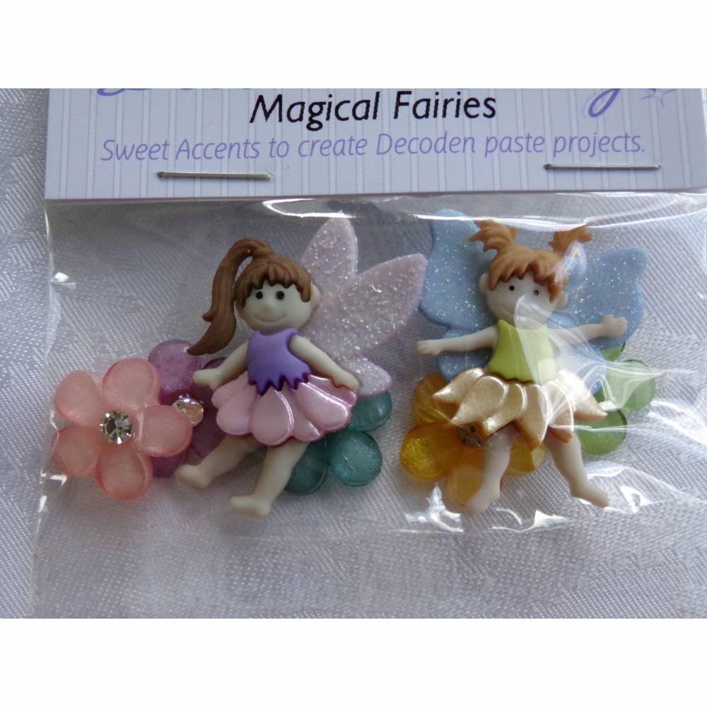 Dress it up Knöpfe - Buttons      Feen + Blumen     (1 Pck.)     Magical Fairies Bild 1