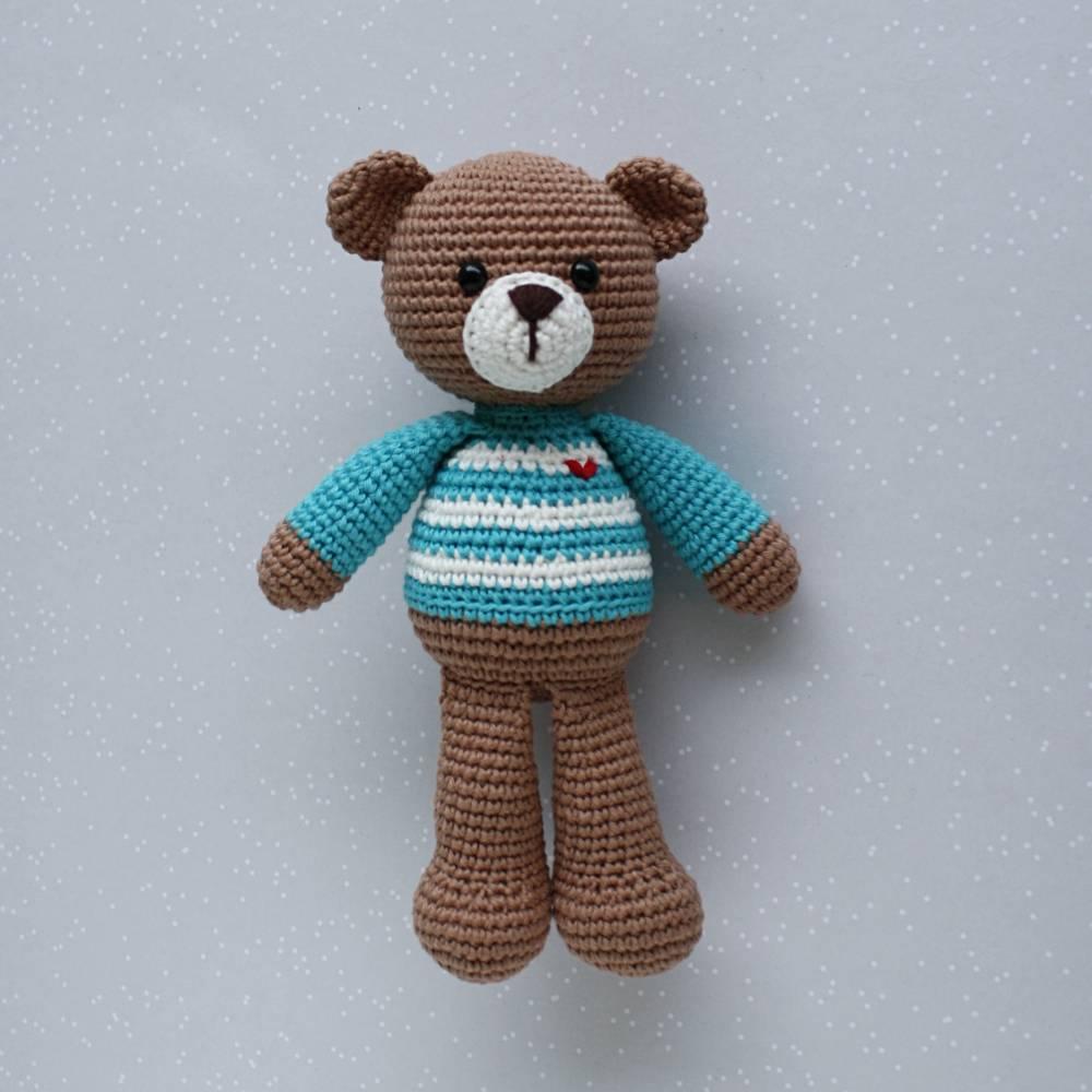 Häkeltier Teddybär Anton Häkelteddy braun/türkis aus Baumwolle handgemacht Bild 1