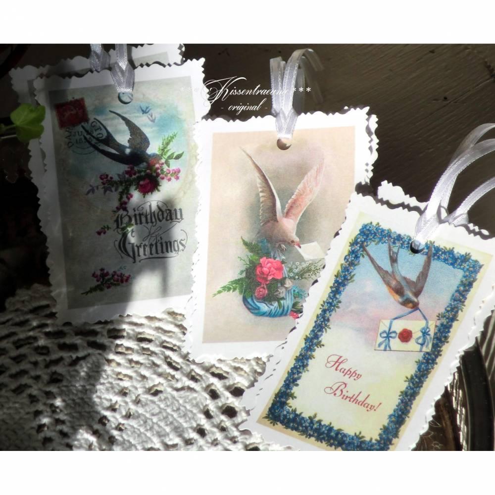 Geschenkanhänger, Papieranhänger, Vintage-Deko, Tags mit Blumen & Vogel Motiven in Shabby / Vintage Stil. Bild 1