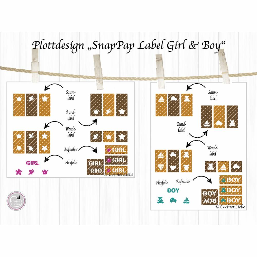 Plotterdatei SnapPap Label Girl Boy Bild 1