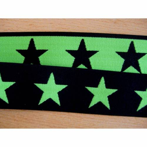 1 m Gummiband, Taillenband, Elastic, Sterne,Doubleface, schwarz/lemongrün 40mm Oeko-Tex Standard 100 (1m/2,50 €)
